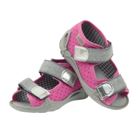 Befado 242p083 sandały różowe w kropki czarne szare 3