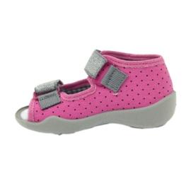 Befado 242p083 sandały różowe w kropki czarne szare 2