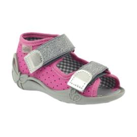 Befado 242p083 sandały różowe w kropki czarne szare 1