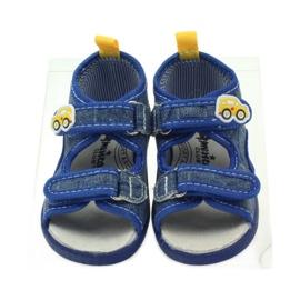American Club American sandałki buty dziecięce wkładka skórzana niebieskie żółte 4