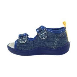 American Club American sandałki buty dziecięce wkładka skórzana niebieskie żółte 2
