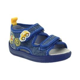 American Club American sandałki buty dziecięce wkładka skórzana niebieskie żółte 1