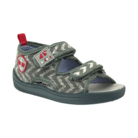 American Club szare sandałki dziecięce TEN36 czerwone 1