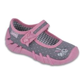 Befado obuwie dziecięce 109P168 szare różowe 1