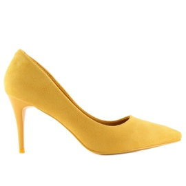 Zamszowe szpilki żółte LEI-90 Yellow 3