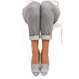 Mokasyny w stylu vintage 3052 Grey szare 1