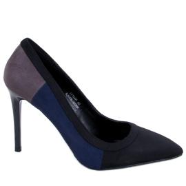 Szpilki damskie tricolor LT104P BLACK/BLUE/GREY czarne niebieskie szare 1