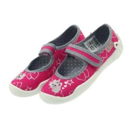 Befado obuwie dziecięce kapcie balerinki 114x308 szare różowe 4