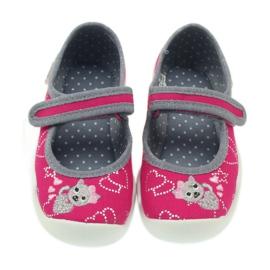 Befado obuwie dziecięce kapcie balerinki 114x308 szare różowe 3