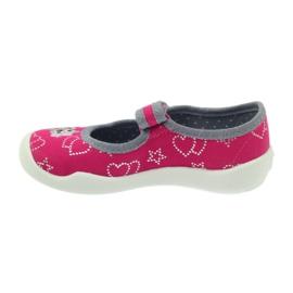 Befado obuwie dziecięce kapcie balerinki 114x308 szare różowe 2