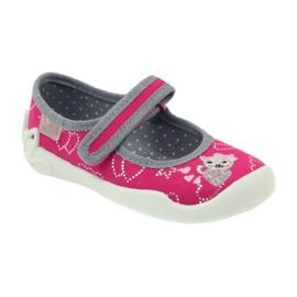 Befado obuwie dziecięce kapcie balerinki 114x308 szare różowe 1