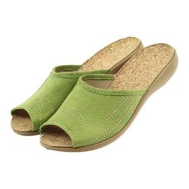 Befado buty damskie kapcie klapki 254D021 zielone 4