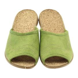 Befado buty damskie kapcie klapki 254D021 zielone 3