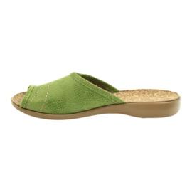 Befado buty damskie kapcie klapki 254D021 zielone 2