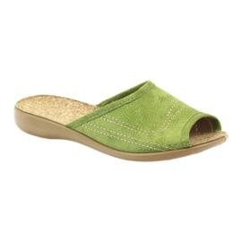 Befado buty damskie kapcie klapki 254D021 zielone 1