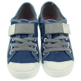 Befado buty dziecięce kapcie trampki 251y111 białe niebieskie szare 3