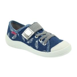 Befado buty dziecięce kapcie trampki 251y111 białe niebieskie szare 1
