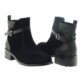 American Club American botki buty zimowe zamszowa skóra czarne 4