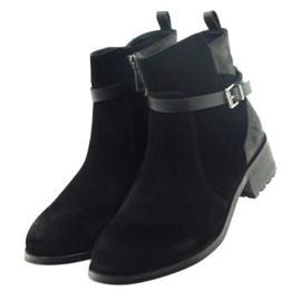 American Club American botki buty zimowe zamszowa skóra czarne 3