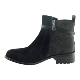 American Club American botki buty zimowe zamszowa skóra czarne 2