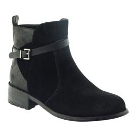 American Club American botki buty zimowe zamszowa skóra czarne 1