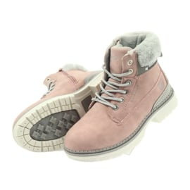 American Club American kozaki trzewiki buty zimowe 708122 szare różowe 4