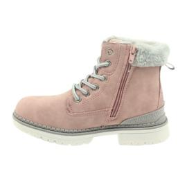 American Club American kozaki trzewiki buty zimowe 708122 szare różowe 2