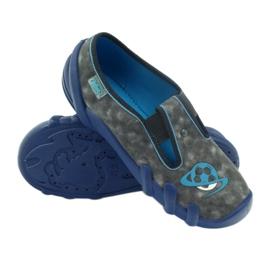 Befado buty dziecięce kapcie 290y163 niebieskie szare 3