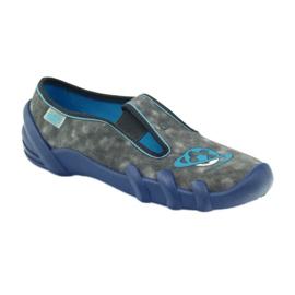 Befado buty dziecięce kapcie 290y163 niebieskie szare 1