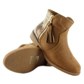 Botki sztyblety dziecięce k1647301 Camel brązowe 3