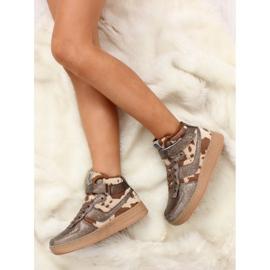 Dziecięce buty sportowe ocieplane k1646103 Bronce brązowe 5