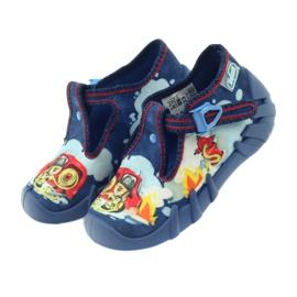 Befado buty dziecięce kapcie 110p323 niebieskie wielokolorowe 4