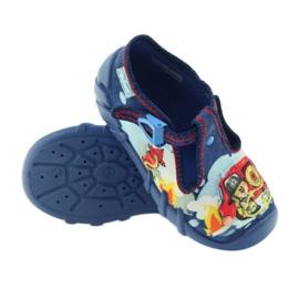 Befado buty dziecięce kapcie 110p323 niebieskie wielokolorowe 3
