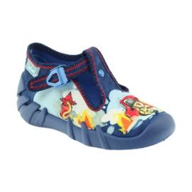 Befado buty dziecięce kapcie 110p323 niebieskie wielokolorowe 1