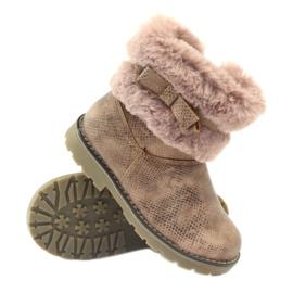 American Club American kozaki buty zimowe z futrem17042 brązowe żółte różowe 4