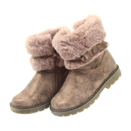 American Club American kozaki buty zimowe z futrem17042 brązowe żółte różowe 3