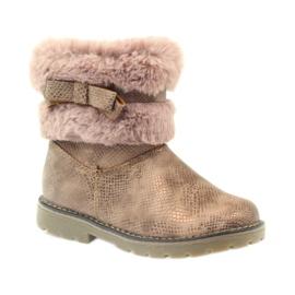 American Club American kozaki buty zimowe z futrem17042 brązowe żółte różowe 1