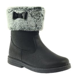 American Club American kozaczki buty zimowe z futerkiem czarne 1