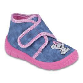 Befado obuwie dziecięce 529P064 niebieskie różowe 1