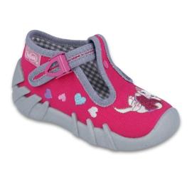 Befado obuwie dziecięce 110P335 różowe szare 1