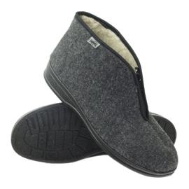 Befado buty męskie ciepłe kapcie 100M047 szare 2