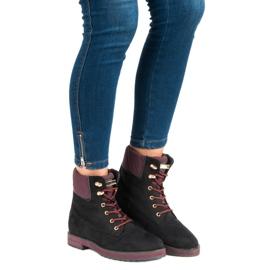 Ideal Shoes Czarne traperki 5