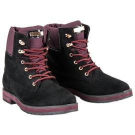 Ideal Shoes Czarne traperki 4