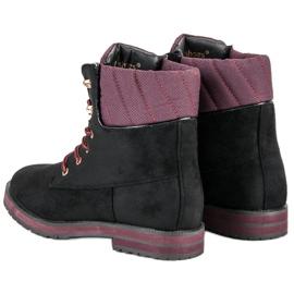 Ideal Shoes Czarne traperki 3