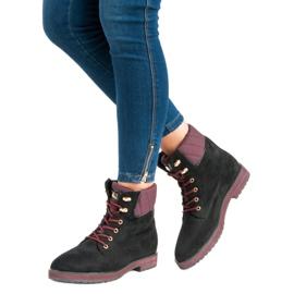 Ideal Shoes Czarne traperki 6
