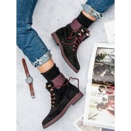 Ideal Shoes Czarne traperki 7