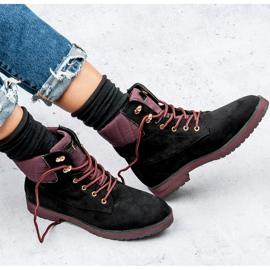 Ideal Shoes Czarne traperki 1
