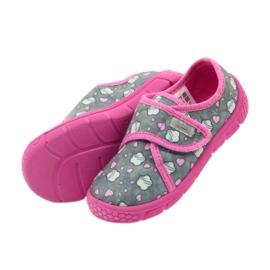 Befado buty dziecięce kapcie 557X041 szare różowe 4