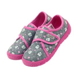Befado buty dziecięce kapcie 557X041 szare różowe 3
