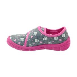 Befado buty dziecięce kapcie 557X041 szare różowe 2